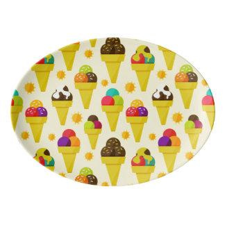 Colorful Cartoon Ice Cream Cones Porcelain Serving Platter