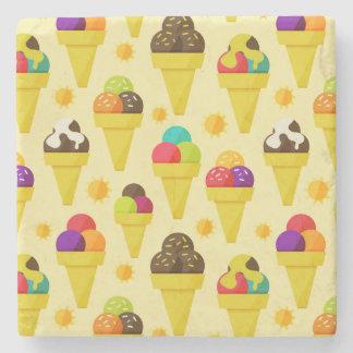 Colorful Cartoon Ice Cream Cones Stone Coaster
