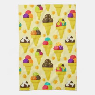 Colorful Cartoon Ice Cream Cones Tea Towel