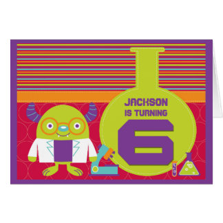 Colorful Cartoon Mad Scientist 6th Birthday Greeting Card