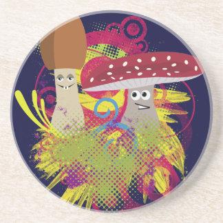 Colorful Cartoon Mushrooms Coaster