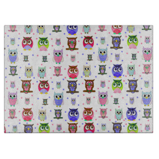 Colorful Cartoon Owls Glass Cutting Board
