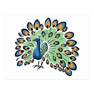 Colorful Cartoon Peacock Postcard