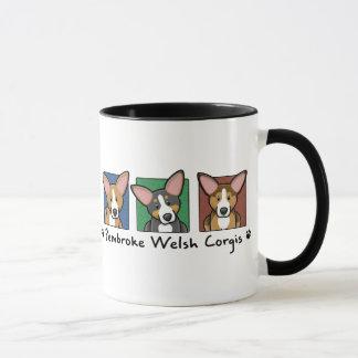 Colorful Cartoon Pembroke Welsh Corgis Mug