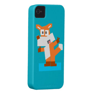 Colorful Cartoon Red Fox Made from Squares Case-Mate iPhone 4 Cases