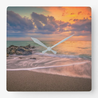Colorful Caspersen Sunset Square Wall Clock
