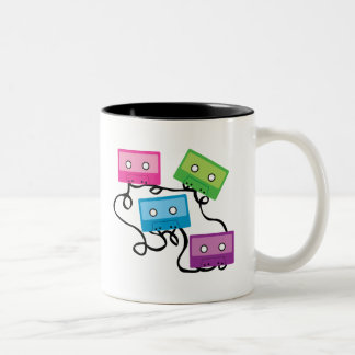 Colorful Cassette Tapes Two-Tone Coffee Mug