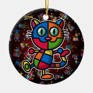 colorful cat2 christmas ornament