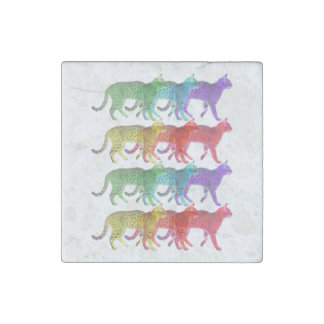 Colorful Cat Crowd Stone Magnet
