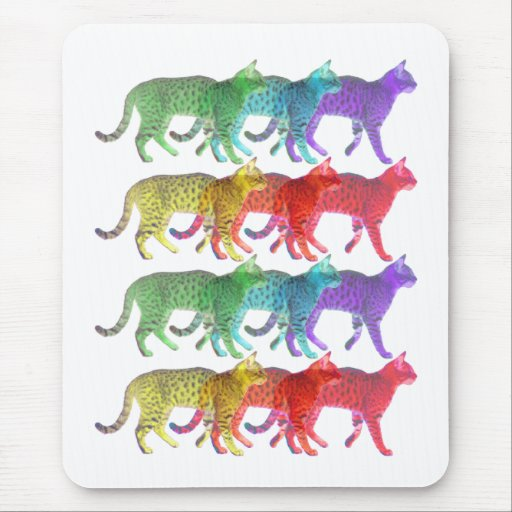 Colorful Cat Crowd Mouse Pad