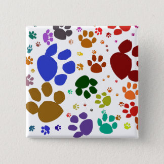 colorful cat paws 15 cm square badge