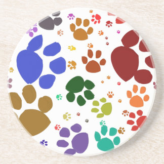 colorful cat paws beverage coasters