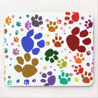 colorful cat paws mouse pad