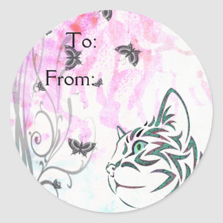 Colorful Cat Round Sticker