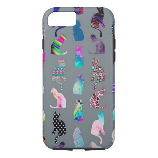 Colorful cat silhouettes on iPhone 7 tough case