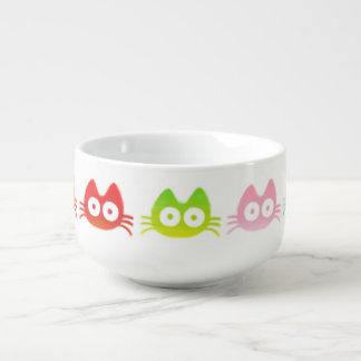 Colorful Cat Soup Bowl With Handle