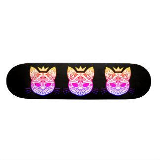 Colorful cat sugar skull skate board