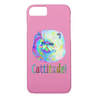 Colorful Cat with Catitude iPhone 7 Case