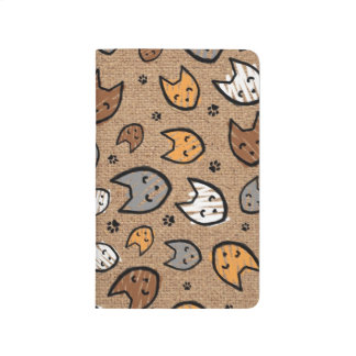 Colorful Cats and Paws Pattern on Burlap Journal