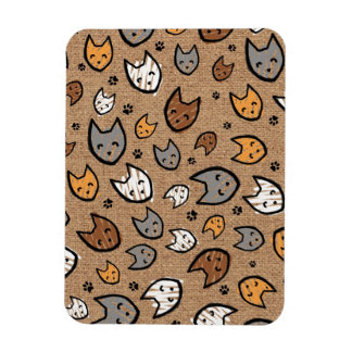 Colorful Cats and Paws Pattern on Faux Burlap Rectangular Photo Magnet