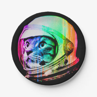 colorful cats - Cat astronaut - space cat Paper Plate