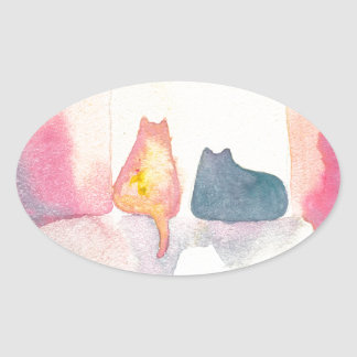 Colorful Cats on a Sunny Sofa Oval Sticker