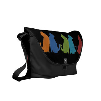 Colorful Cats on Black Background Commuter Bags
