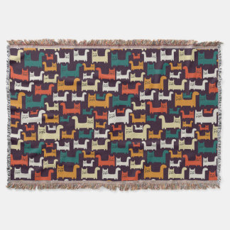 Colorful Cats Pattern throw blanket