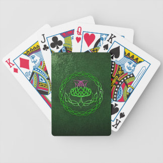 Colorful Celtic Knot Thistle Bicycle Playing Cards