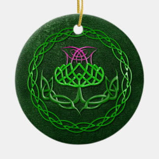 Colorful Celtic Knot Thistle Christmas Ornament