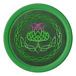 Colorful Celtic Knot Thistle Poker Chips