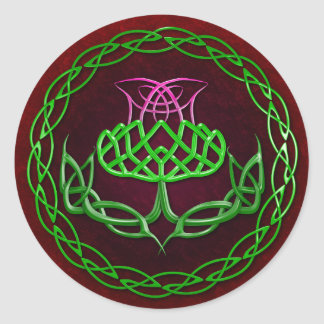 Colorful Celtic Knot Thistle Round Sticker
