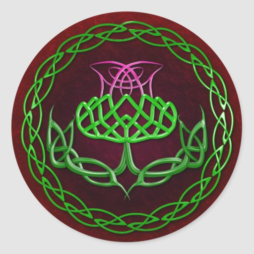 Colorful Celtic Knot Thistle Sticker
