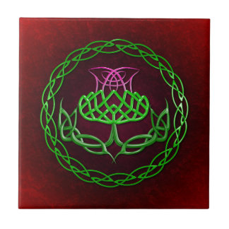 Colorful Celtic Knot Thistle Small Square Tile