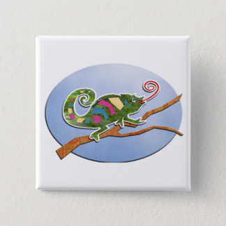 Colorful Chameleon 15 Cm Square Badge