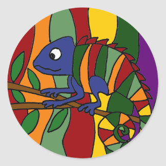 Colorful Chameleon Abstract Round Stickers