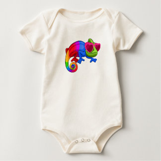 Colorful Chameleon with Sunglasses Day Bodysuit