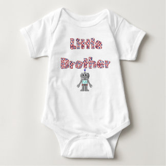 Colorful Checked Little Brother and Robot T-Shirt