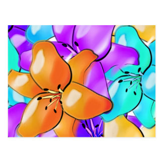 Colorful & cheery painted lilies postcard