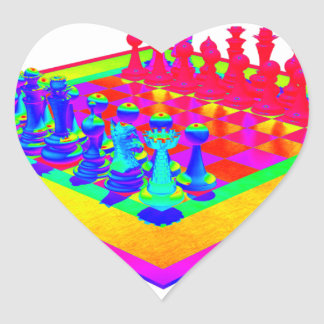 Colorful Chessboard & Chess Pieces Heart Sticker