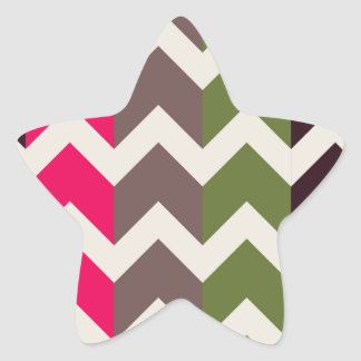 Colorful Chevron and Stripes Pattern Star Stickers