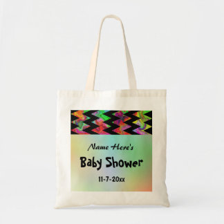 Colorful Chevron Baby Shower Tote Bag