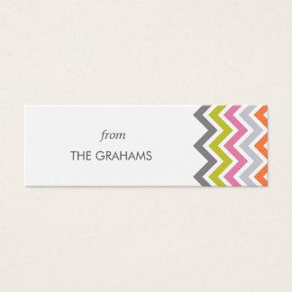 Colorful Chevron Custom Gift Tags Mini Business Card