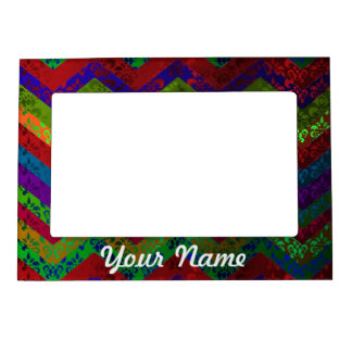Colorful chevron damask pattern magnetic picture frame