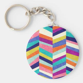 Colorful Chevron Geometric Abstract Key Ring