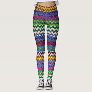 Colorful Chevron Modern Leather Leggings