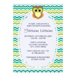Colorful Chevron Owl Baby Shower Invitations