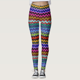 Colorful Chevron Pattern Burlap Look #10 Leggings