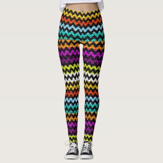 Colorful Chevron Pattern Burlap Look #11 Leggings
