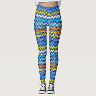 Colorful Chevron Pattern Burlap Look #2 Leggings